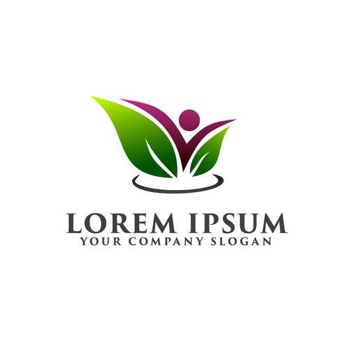 Blatt Menschen Logo-Design-Konzept-Vorlage vektor