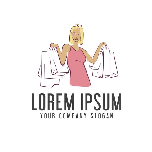 kvinna shoppingväska logo design koncept mall vektor