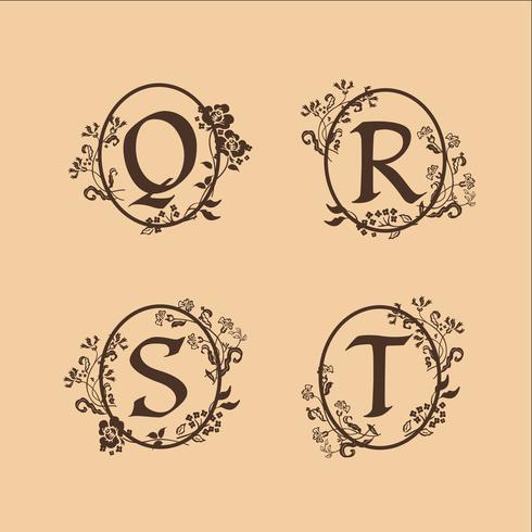 dekoration brev S, T, R, Q logotyp design koncept mall vektor