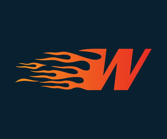 Letter W flame Logo. hastighet logotyp design koncept mall vektor