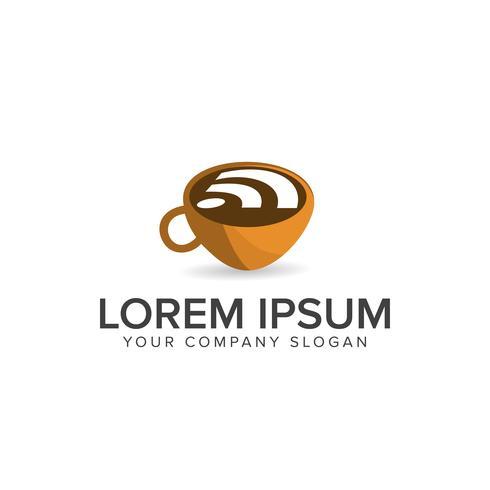 Kaffee Wireless-Logo. Lebensmittel- und Getränkelogo-Konzept templat vektor