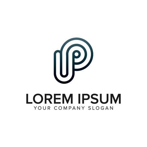 enkelt brev P Logo design koncept mall vektor