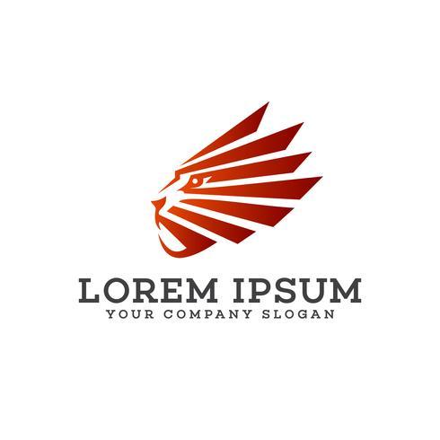 Löwenkopf Logo Design-Konzept-Vorlage vektor