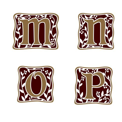 dekoration brev M, N, O, P logo design koncept mall vektor