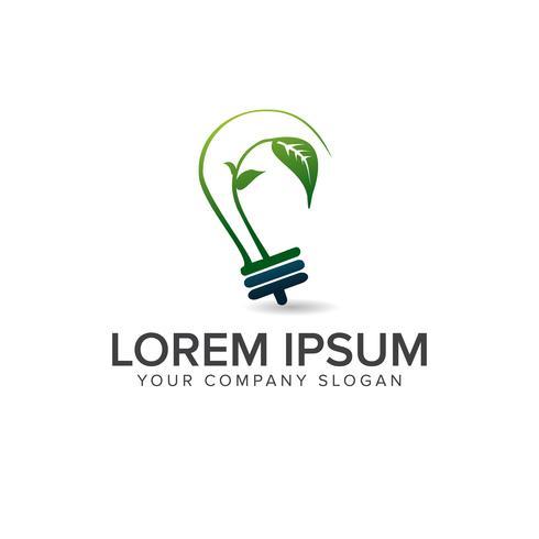 glödlampa gröna blad logo design koncept mall vektor