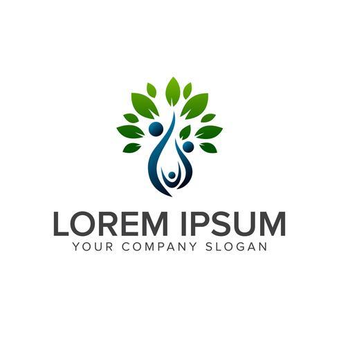 Menschen Familie grünes Logo-Design-Konzept-Vorlage vektor
