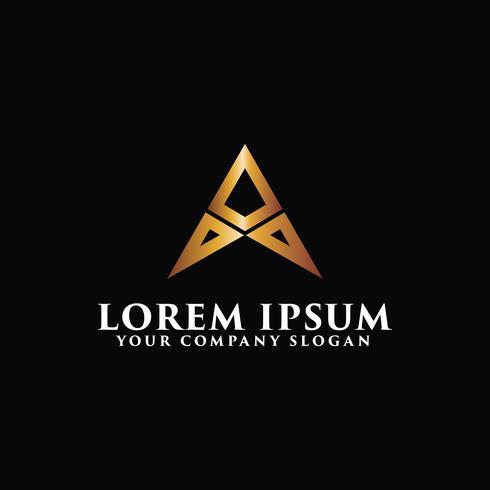 Luxus Brief A Metall Logo-Design-Konzept-Vorlage vektor
