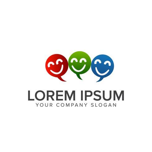 Chat Lächeln Menschen Logo Design-Konzept-Vorlage vektor