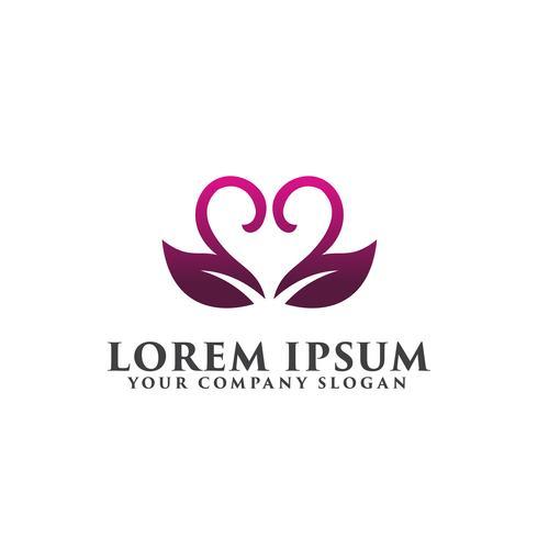 leaf coupleromantic logo. bröllopslogo designkoncept mall vektor