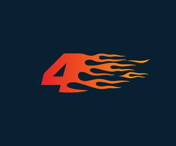 Nummer 4 brandflamma Logo. Speed Race Design Concept mall vektor