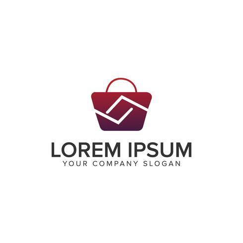 Tasche shoping Logo-Design-Konzept-Vorlage vektor