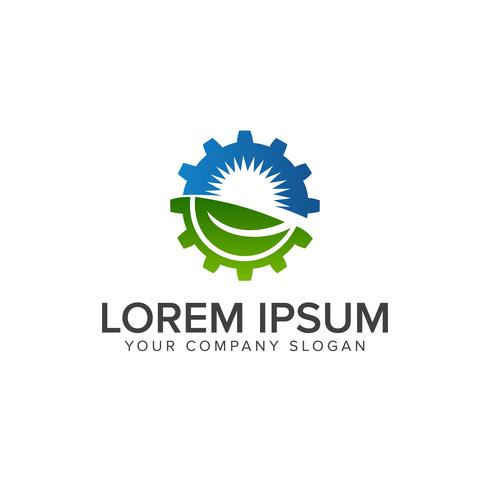 Leaf Sun Gear Logo. Energie, industrielle Logo-Design-Konzept-Vorlage vektor