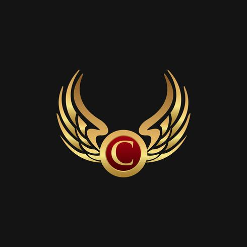 Lyx brev C Emblem Wings logo design koncept mall vektor