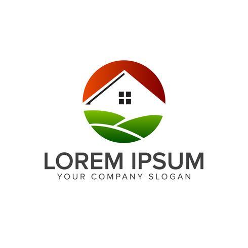 fastighetsgrön logotyp designkoncept mall vektor