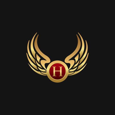 Luxus Buchstabe H Emblem Wings Logo-Design-Konzept-Vorlage vektor