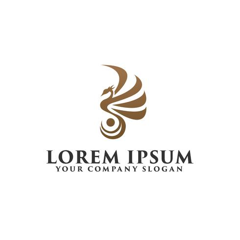 Luxus Vogel Phoenix Logo-Design-Konzept-Vorlage vektor