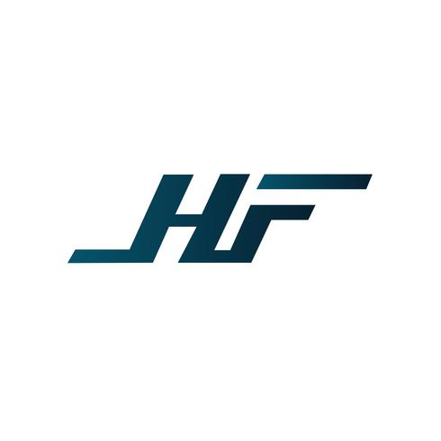 Brief HF-Logo-Design-Konzept-Vorlage vektor