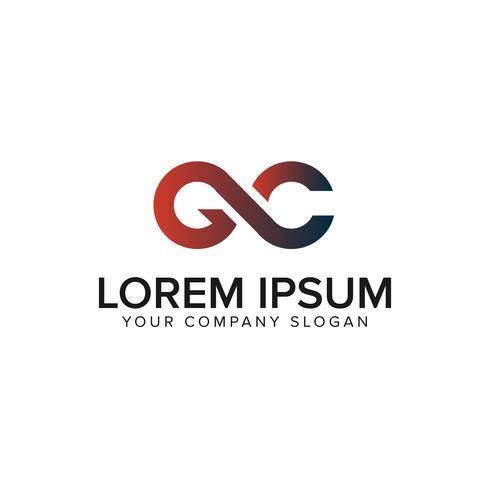 brevkonceptmall för brev GC logo design vektor