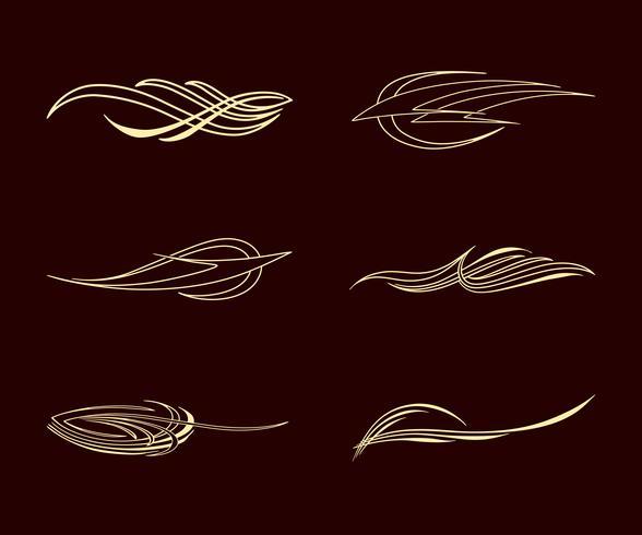 amerika pinstriping stil samling set vektor
