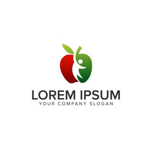 Apple Menschen Logo-Design-Konzept-Vorlage vektor