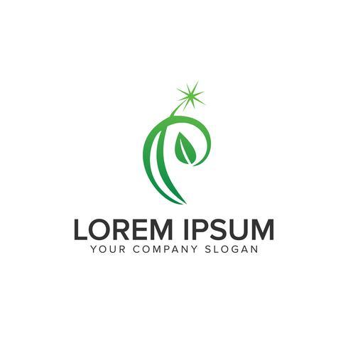 brev P leaf logo design koncept mall vektor