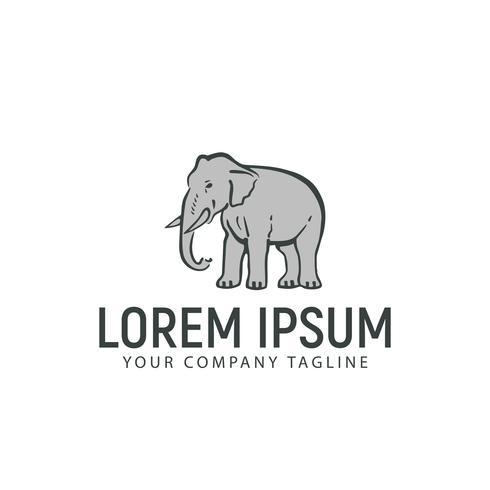 Elefant Hand gezeichnete Logo-Design-Konzept-Vorlage vektor
