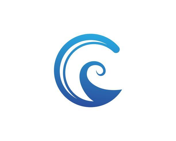 Vatten våg symbol och ikon Logo Mall vektor
