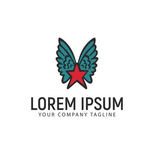 Stern Flügel hand gezeichnete Logo-Design-Konzept-Vorlage vektor