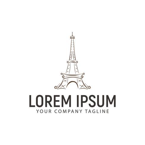 Eiffelturm-Logo. handgezeichnete Design-Konzept-Vorlage vektor