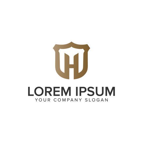 Luxus Buchstabe H Sield Logo Design-Konzept-Vorlage. vollständig editab vektor