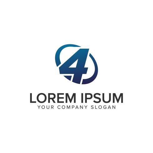Kreativ modern Nummer 4 Logo designkonceptmall. fullständigt redigerad vektor