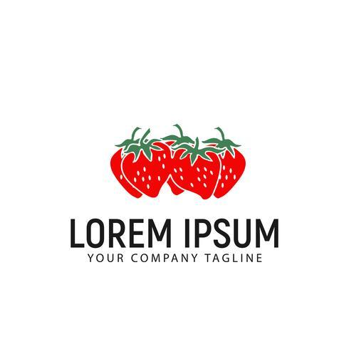 jordgubb logo design koncept mall vektor
