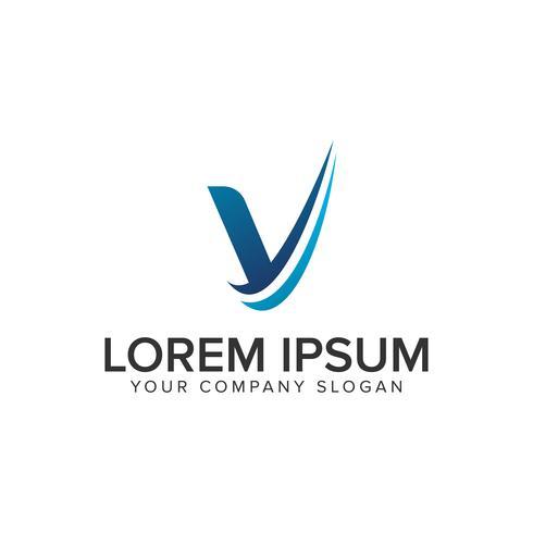 Cative Modern brev V Logo design koncept mall. helt redigera vektor