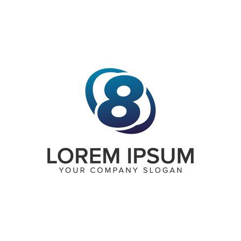 Kreativ modern Nummer 8 Logo design koncept mall. fullständigt redigerad vektor
