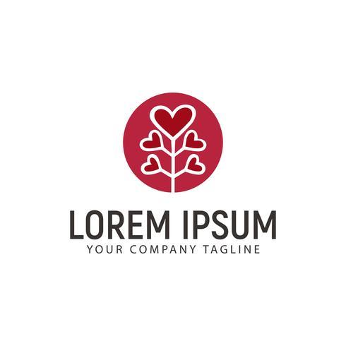 Baum Liebe Logo Design-Konzept-Vorlage vektor