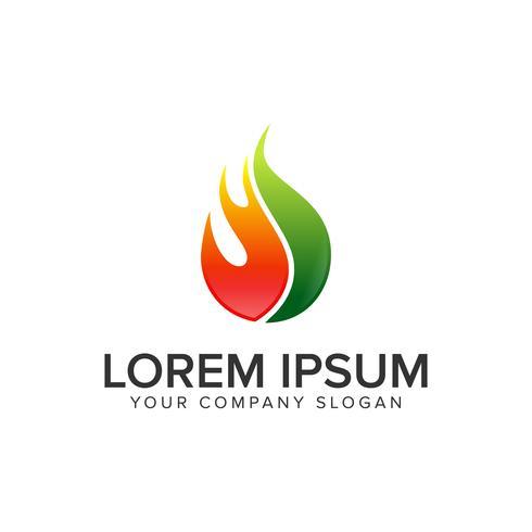 Feuer fallen lassen. Öl-Gas-Logo-Design-Konzept-Vorlage. vektor