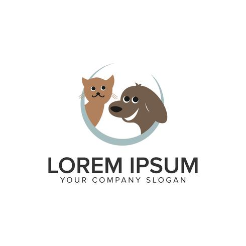 Katze Hund Tier Logo-Design-Konzept-Vorlage. voll editierbares vect vektor