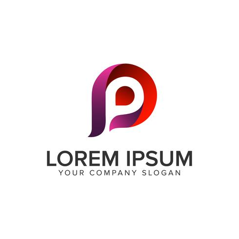 brev P moderna logotypkonceptkonceptmall. vektor