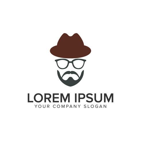 man med skägg och hatt logo design koncept mall. fullt edita vektor