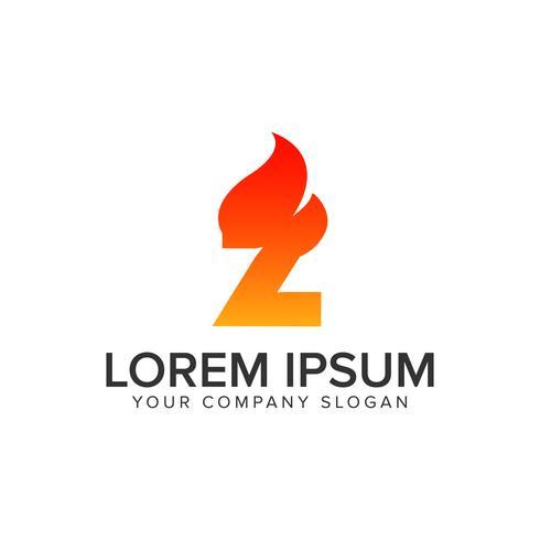 brev Z tändning Flame logo design koncept mall. helt redigera vektor