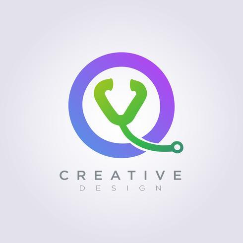 Vektor Logo Design Icon Symbol Kreis Stethoskop