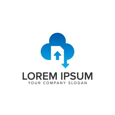 Cloud-Dokument herunterladen Logo hochladen vektor