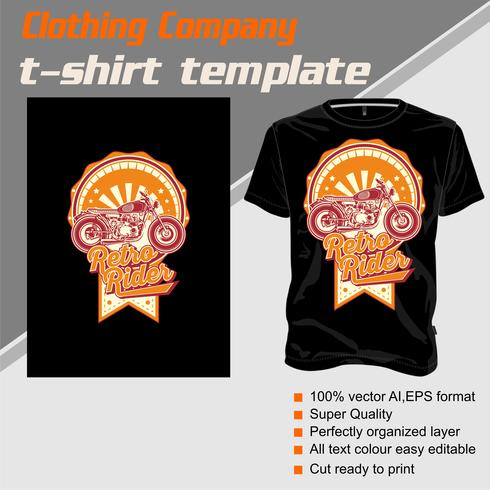 T-Shirt Schablone, völlig editable mit Vintagem Mitfahrervektor vektor