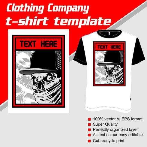 T-shirtmall, helt redigerbar med gangstervektor vektor
