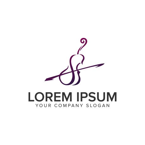 Violine Logo-Design-Konzept-Vorlage. vollständig bearbeitbarer Vektor