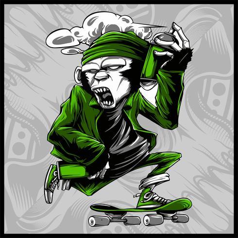 apa hantering spray färg och skateboard vektor