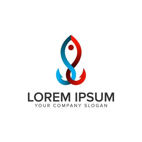 Angelhaken Logo Design-Konzept-Vorlage. vollständig bearbeitbarer Vektor