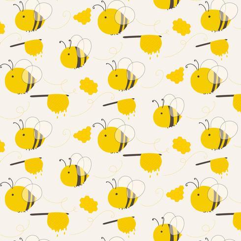 Netter Bienen-Muster-Hintergrund. Vektor-Illustration. vektor