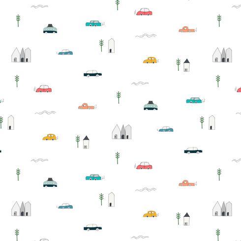 Mönster Med Abstrakt Hem Car And Tree Design Elements. Handgjord Vektor Illustration Bakgrund.