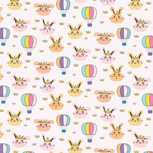 Princess Bunny Pattern Bakgrund För Barn. Vektor illustration.